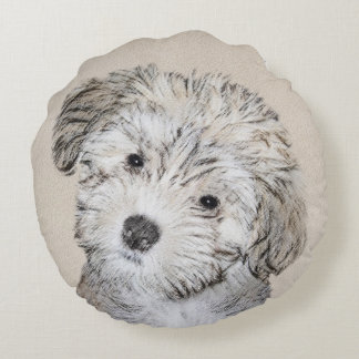 Havanese Puppy Painting - Cute Original Dog Art Round Cushion