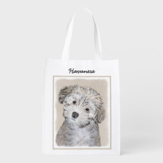 Havanese Puppy Reusable Grocery Bag