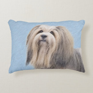 Havanese (Silver) Painting - Cute Original Dog Art Decorative Cushion