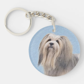 Havanese (Silver) Painting - Cute Original Dog Art Key Ring