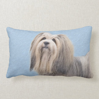Havanese (Silver) Painting - Cute Original Dog Art Lumbar Cushion