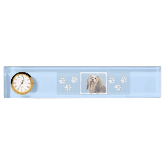 Havanese (Silver) Painting - Cute Original Dog Art Name Plate