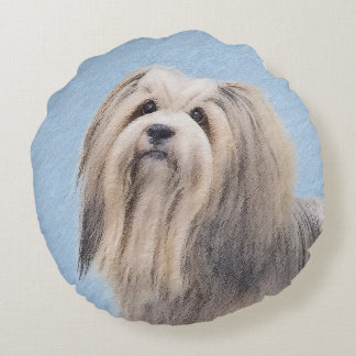 Havanese (Silver) Painting - Cute Original Dog Art Round Cushion