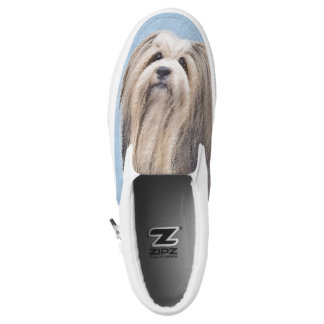 Havanese (Silver) Painting - Cute Original Dog Art Slip-On Shoes
