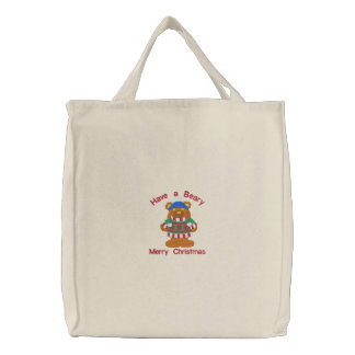 Have a Beary Merry Christmas Embroidered Tote Embroidered Tote Bag