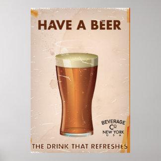 Have A Beer vintage Bar Poster