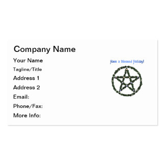 Have a Blessed Holiday! Holly Pentacle Business Cards