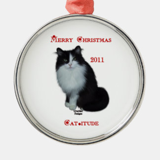 Have a Cat-itude Christmas 2011 Silver-Colored Round Decoration