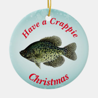"""Have a Crappie Christmas"" featuring black crappie Round Ceramic Decoration"