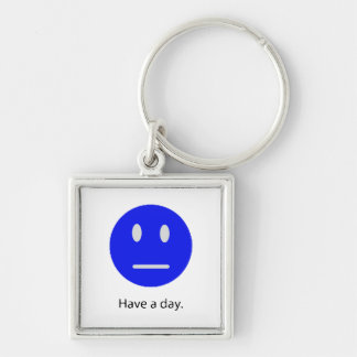 Have A Day Silver-Colored Square Key Ring