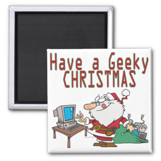 have a geeky christmas santa computer tech magnet