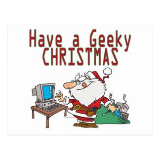 have a geeky christmas santa computer tech post card
