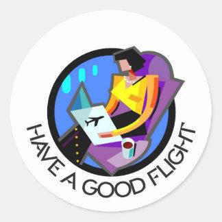 Have a good flight bon voyage Flying passenger Round Stickers