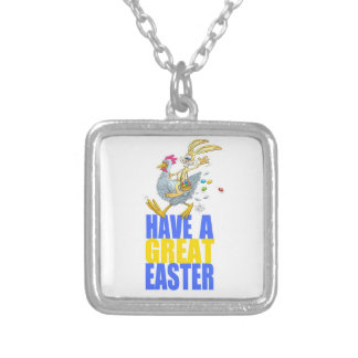 Have a great Easter,Bunny riding a chicken. Square Pendant Necklace