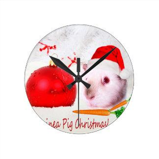 Have a Guinea Pig Christmas Round Clock