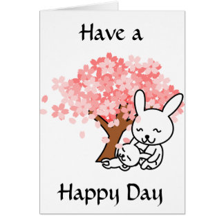 Have a Happy Day, Cute Bunnies under Tree Card