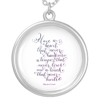 Have a heart inspirational quote typography silver plated necklace