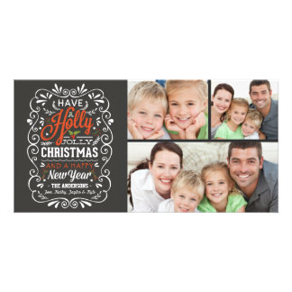 Have A Holly Jolly Christmas Chalkboard 3-Photo Photo Cards