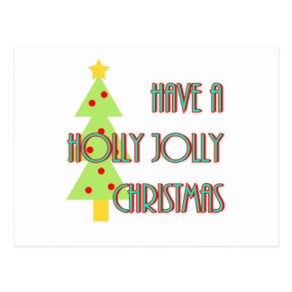 have a holly jolly christmas mid century modern postcard
