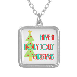 have a holly jolly christmas mid century modern silver plated necklace