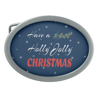 Have a Holly Jolly Christmas Oval Belt Buckles
