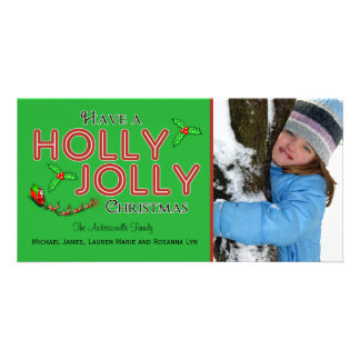 Have A Holly Jolly Xmas Custom Flat Photo Card