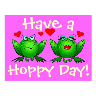 Have a Hoppy Day Happy Cartoon Frogs Postcard