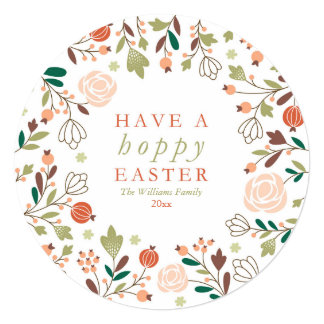 """Have a Hoppy Easter 5.25"""" Square Invitation Card"""