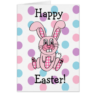 Have a Hoppy Easter Pink Bunny Rabbit Card