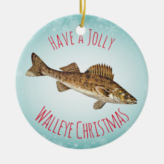 """Have a Jolly Walleye Christmas"" Round Ceramic Decoration"