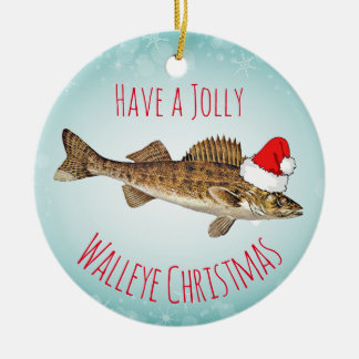 """""""Have a Jolly Walleye Christmas"""" With Santa Hat Ceramic Ornament"""