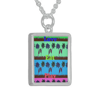 Have a Nice Day Eat Love Play colourful ideas Sterling Silver Necklace