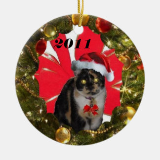 Have a purrrfect Holiday Ceramic Ornament