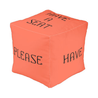 Have A Seat Please Tomato Red Cube Pouf by Janz