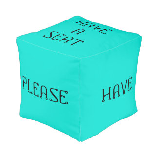 Have A Seat Please Turquoise Cube Pouf by Janz
