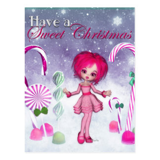 Have a Sweet Christmas :: Pink Cookie Poser Girl Postcard