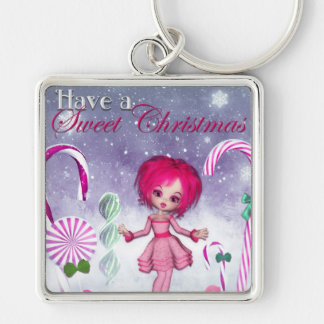 Have a Sweet Christmas :: Pink Cookie Poser Girl Silver-Colored Square Key Ring