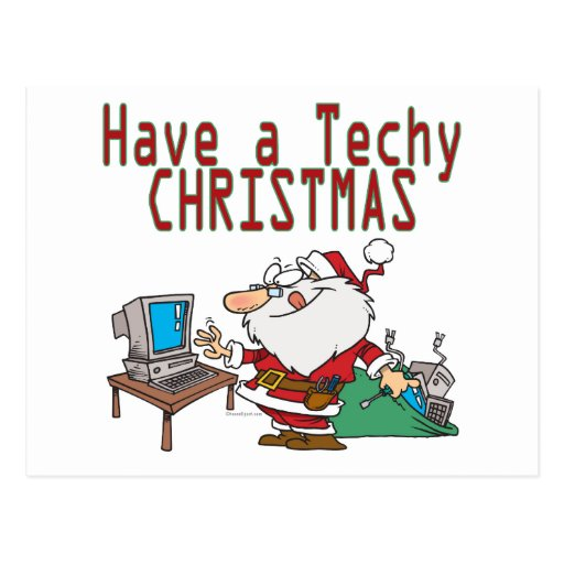 have a techy christmas computer geek santa post card