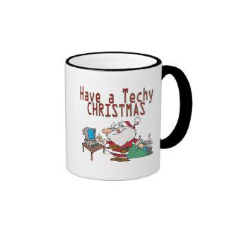 have a techy christmas computer geek santa ringer mug