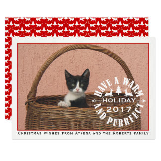Have a warm and purrfect holiday red pet Christmas Card