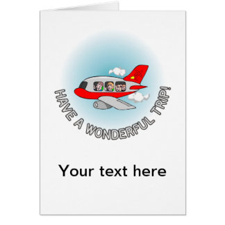 Have a wonderful trip! Airplane with passengers Greeting Card