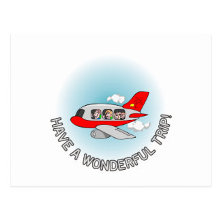 Have a wonderful trip! Airplane with passengers Postcard