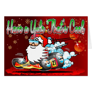 Have a Yule Thats Cool - Santa GoKart Cartoon Xmas Card