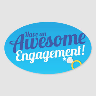 Have an awesome Engagement  with ring Oval Sticker