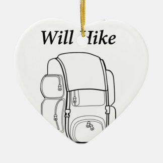 Have Backpack Will Hike Ceramic Heart Decoration