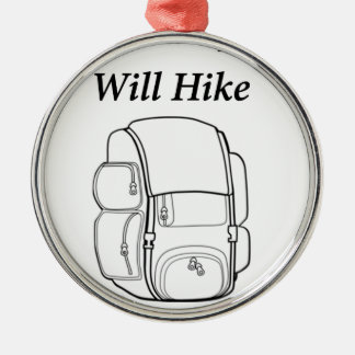 Have Backpack Will Hike Silver-Colored Round Decoration