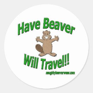 Have Beaver Will Travel Classic Round Sticker