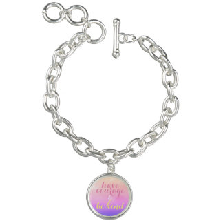 Have Courage and Be Kind Quote Charm Bracelet