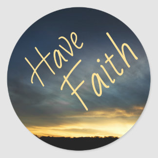 Have Faith Greeting Card Set Classic Round Sticker