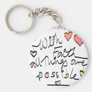 Have Faith. Quote word message colour design Key Ring